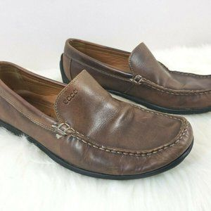 Ecco Men's Brown Leather Driving Loafers